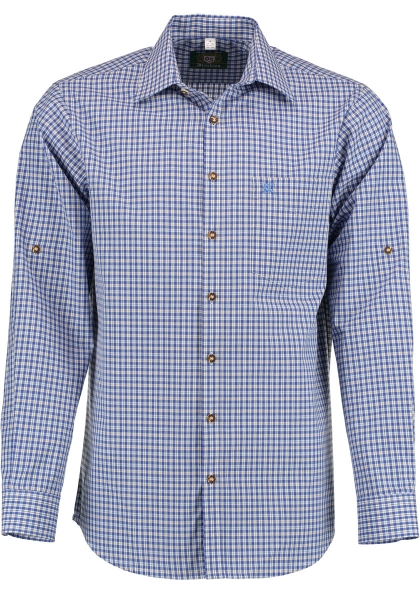 Trachtenhemd Hauslehen kornblau blau Karo Langarm Regular Fit OS Trachten
