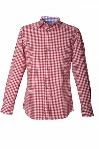 Trachtenhemd John Karo Rot langarm OS Trachten
