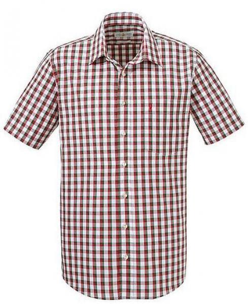 Trachtenhemd Bischbrunn rot/grün kurzarm Almsach