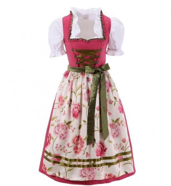 B-Ware / 2. Wahl - Dirndl midi 70 cm Bichl pink weiß Naber Collection
