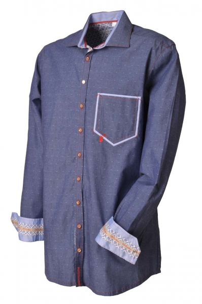 Trachtenhemd Illesheim kornblau OS Trachten