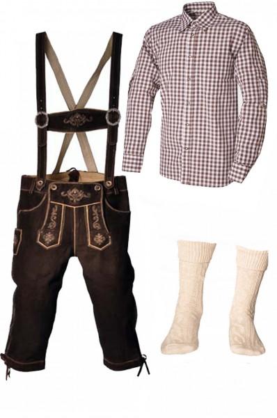Trachtenlederhosen-Set 4-tlg. Kniebund dunkelbraun mit braunem Hemd von Fuchs