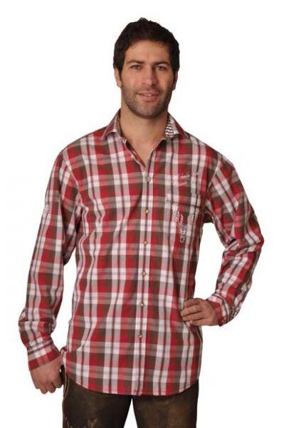 Trachtenhemd Levin rot karo OS-Trachten