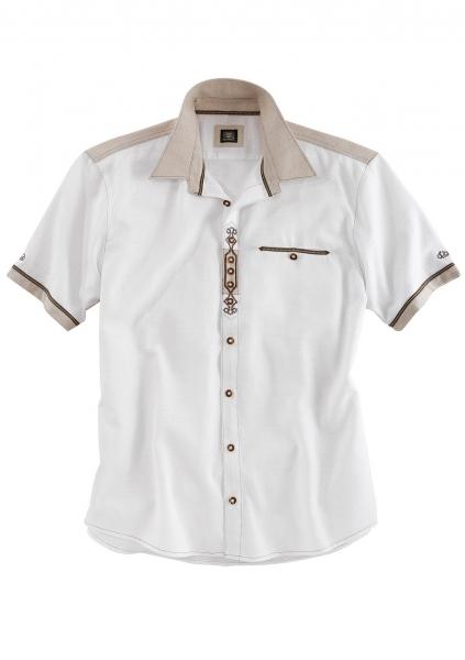 B-Ware / 2. Wahl - Trachtenhemd Laron weiß kurzarm OS Trachten