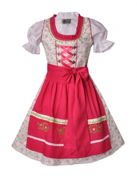 Kinderdirndl Jugenddirndl Kissing creme pink Set 3-tlg. Bayer Madl