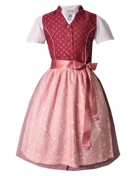 Kinderdirndl Jugenddirndl Großharbach pink rosa Set 3-tlg. Isar-Trachten