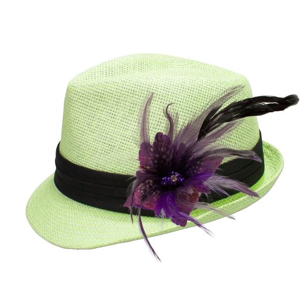 Trachten-Strohhut hellgrün Feder lila