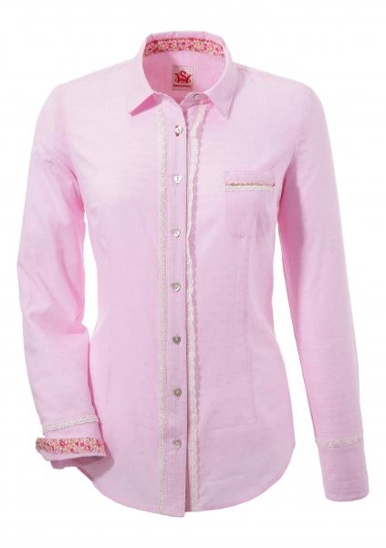 Trachtenbluse Hemdbluse Wieseth rosa langarm Spieth & Wensky