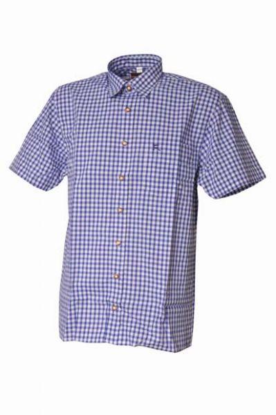 Trachtenhemd Alfons Kurzarm kornblau Karo OS Trachten