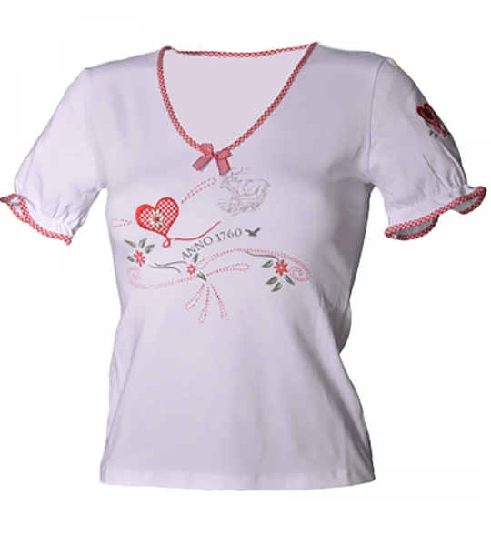 Trachten-T-Shirt Sona weiss/rot Anno Stockerpoint