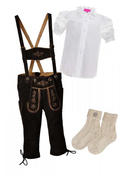 Kinder Trachtenlederhosen-Set 4-tlg. kniebund dunkelbraun von Lekra mit weißer Bluse von Krüger Madl