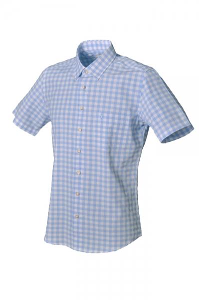 Trachtenhemd Henrik ice blau kurzarm Almsach