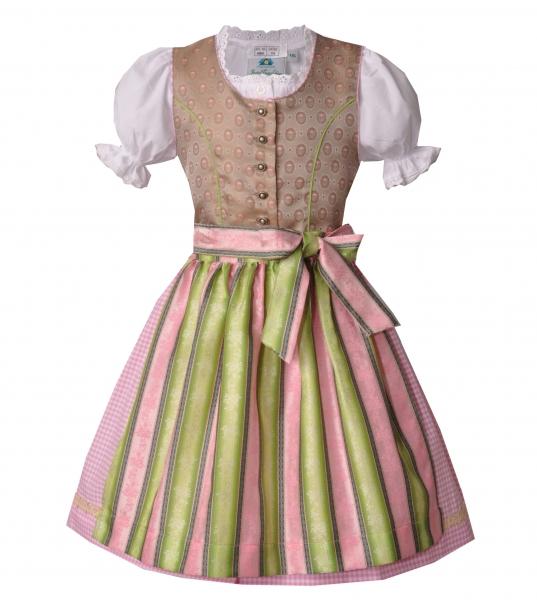 Kinderdirndl Jugenddirndl Gerach beige rosa grün Set 3-tlg. Isar-Trachten
