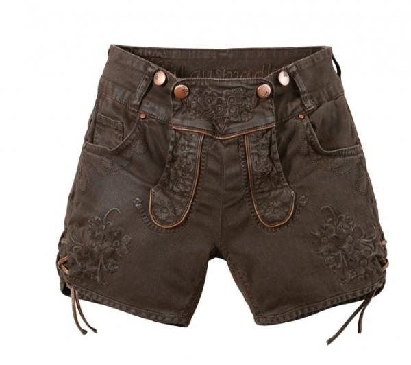 B-Ware / 2. Wahl Trachtenjeans Ovida dunkelbraun braun coated Jeans-Shorts Hangowear