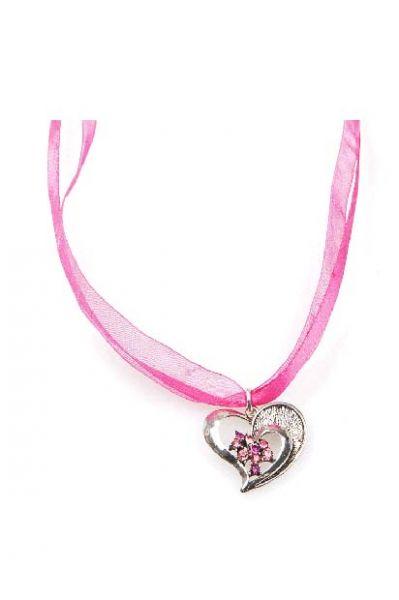 Dirndlkette Trachtenkette Herz rosa pink