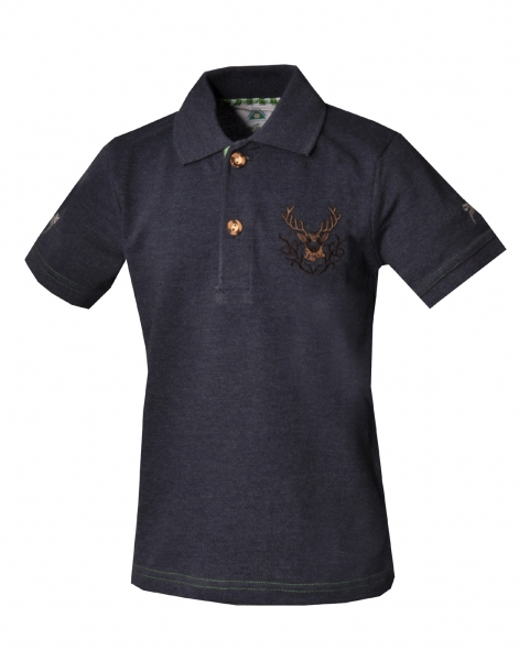 Kinder Trachten Poloshirt Trachtenshirt Hohenpolding jeansblau Hirschstickerei Isar Trachten