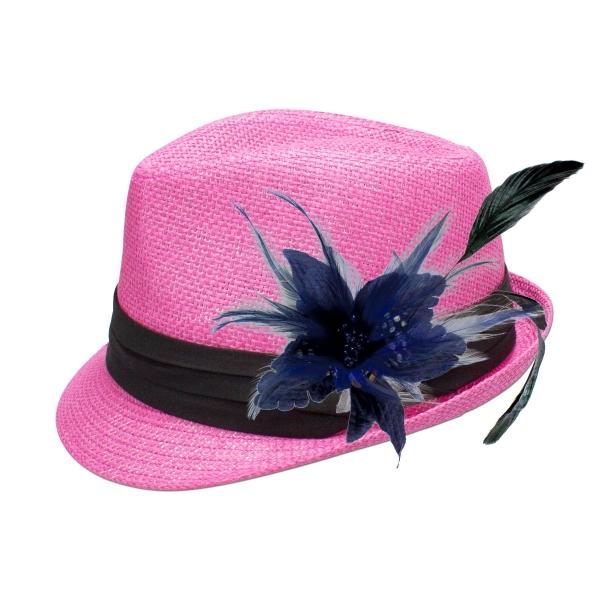 Trachten-Strohhut pink Feder-Clip blau