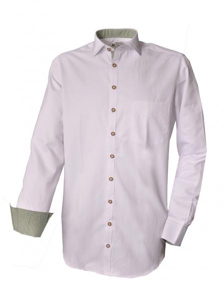 Trachtenhemd Kirchseeon weiß / grün Langarm OS Trachen