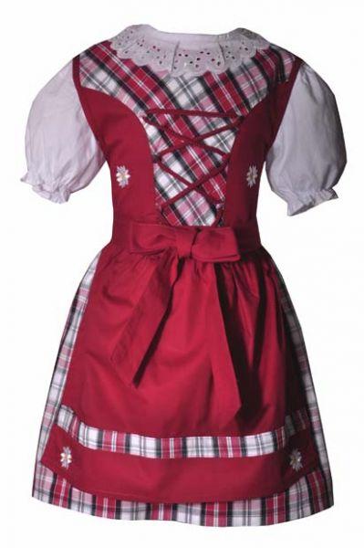 Kinderdirndl Ida rot 3-tlg. Trachtenset