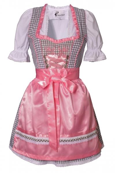 Dirndl mini 50 cm Simone grau/rosa Trachtenset 3-tlg. Bayer Madl