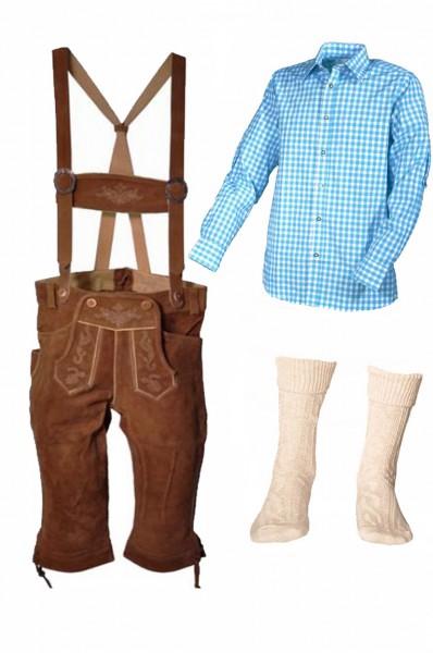 Trachtenlederhosen-Set 4-tlg. Kniebund hellbraun mit türkisem Hemd