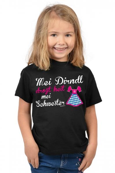 Kinder Trachten T-shirt Mei Dirndl drogt heit mei Schwester weiß