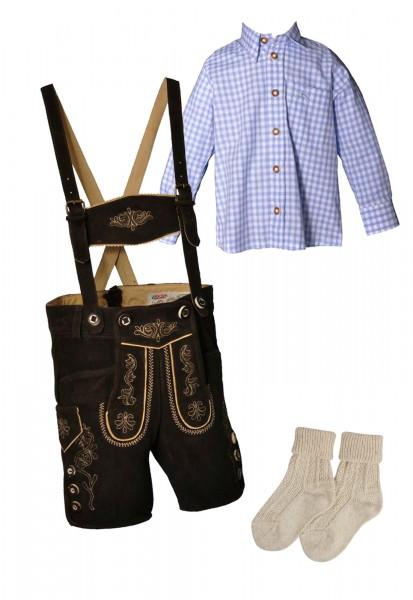 Kinder Trachtenlederhosen-Set 4-tlg. kurz dunkelbraun von Lekra mit hellblauem Hemd von OS Trachten