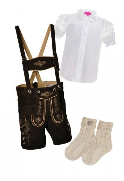 Kinder Trachtenlederhosen-Set 4-tlg. kurz dunkelbraun von Lekra mit weißer Bluse von Krüger