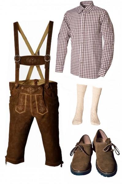 Trachtenlederhosen-Set 5-tlg. Kniebund hellbraun mit braunem Hemd und Schuhen von Fuchs
