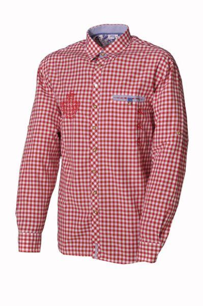 Trachtenhemd Lionel Langarm Rot Karo OS Trachten