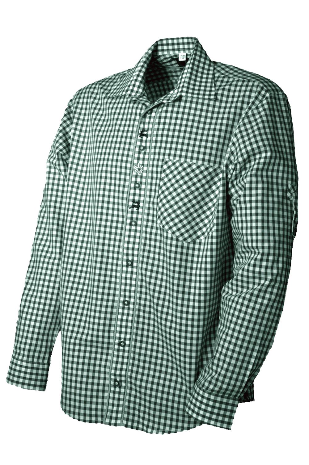 Trachtenhemd Megesheim grün weiß OS Trachten   Trachten in Übergröße    Herren   Trachtenoutlet24 ec9479ab2c